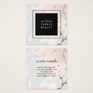 Modern Blush Pink and Gray Marble with Black Square Business Card