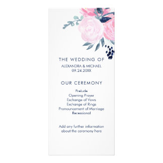 Modern Blush Pink and Navy Floral Wedding Program Full Colour Rack Card