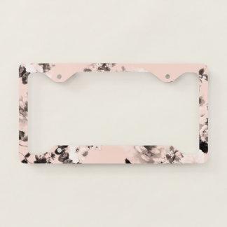 Modern blush pink black white girly floral pattern license plate frame