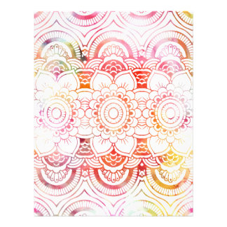 Modern blush pink coral watercolor floral mandala flyer
