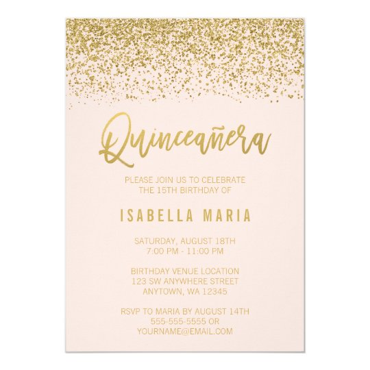 Modern Blush Pink Faux Gold Glitter Quinceanera Card
