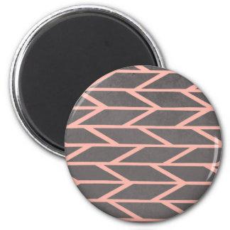 Modern blush pink stripes chevron geometric grey magnet