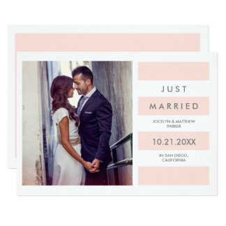 Modern Blush Pink Stripes | Just Married Photo Card