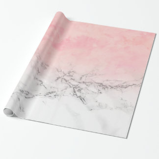Modern blush pink watercolor ombre white marble wrapping paper