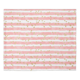 Modern blush pink watercolor stripes gold confetti duvet cover