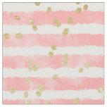 Modern blush pink watercolor stripes gold confetti fabric