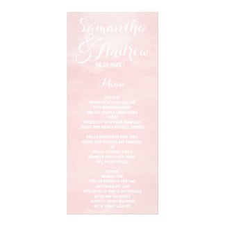 Modern blush pink watercolor wedding menu