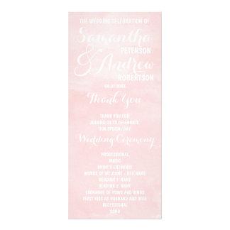 Modern blush pink watercolor Wedding Program