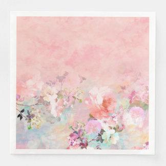 Modern blush watercolor ombre floral watercolor paper napkins