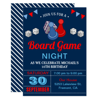 Modern Board Game Night Birthday Party Invitation