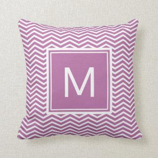 Modern Bodacious Purple Chevrons With Monogram Throw Pillow