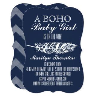 Modern Bohemian Tribal Feather Chevron Baby Shower Card