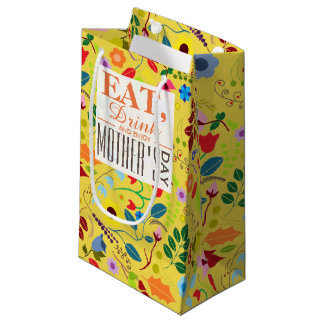 Modern Boho Chic Floral Mother's Day Small Gift Bag