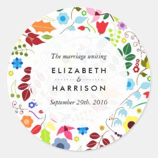 Modern Boho Chic Floral Wedding Round Sticker