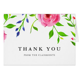 Modern Boho Floral Wedding Thank You Cards