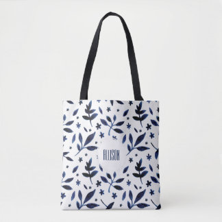 Modern Boho Indigo Watercolor Leaves | Tote Bag