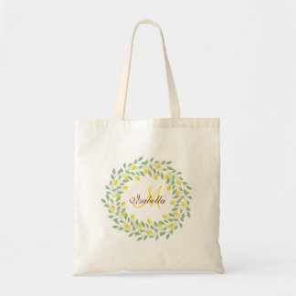 Modern Boho Lemon Monogram Bridal Shower Favor Tote Bag