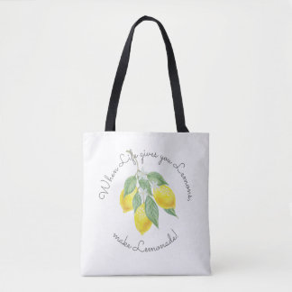 Modern Boho Lemon Monogrammed Favor Tote Bag
