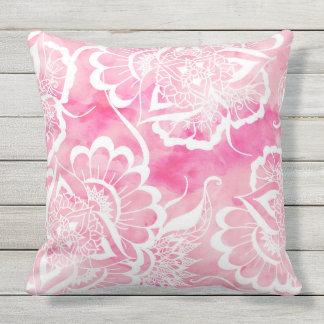 Modern boho pink watercolor white floral mandala throw pillow
