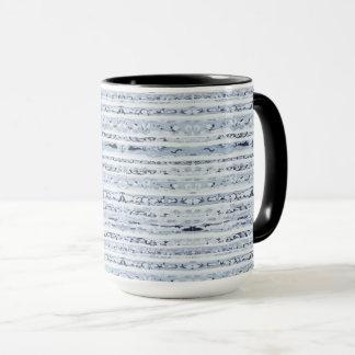Modern boho stripes design indigo blue mug