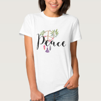 Modern Boho Style Peace Design T Shirt
