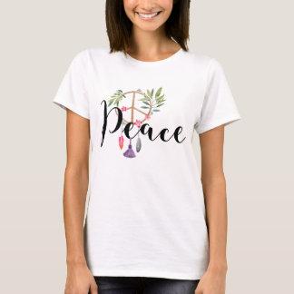 Modern Boho Style Peace Design T-Shirt