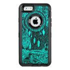 Modern boho turquoise dreamcatcher floral doodles OtterBox defender iPhone case