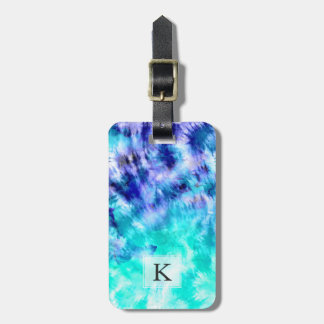 Modern boho turquoise watercolor mermaid tie dye luggage tag