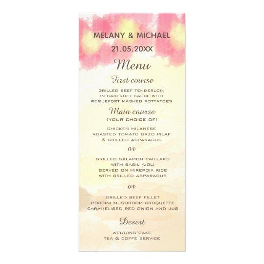 Modern boho watercolor  flowers wedding  menu