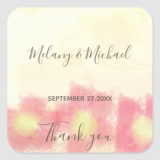 Modern boho watercolor flowers wedding Thank you Square Sticker