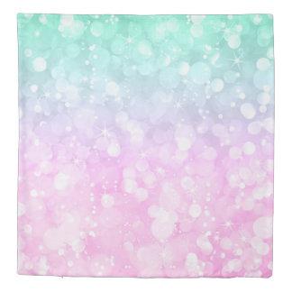 Modern Bokeh Glitter Pastel Pink & Green Duvet Cover