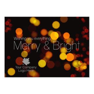 Modern Bokeh Merry Bright Corporate Logo Holiday Card