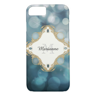 Modern Bokeh Sparkle Blue Personalized Monogrammed iPhone 7 Case