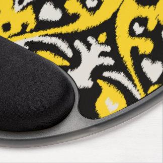 Modern bold black yellow ikat tribal pattern gel mousepad