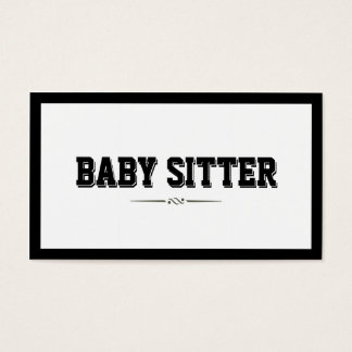 Modern Bold Border Baby Sitter Business Card