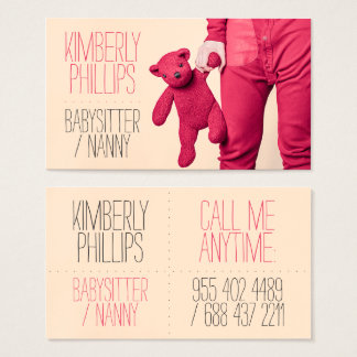 Modern bold coral babysitter nanny cute photograph business card