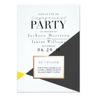 Modern Bold Geometric Engagement Party Card
