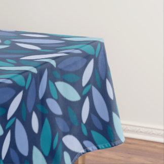 Modern bold leaf design in blue and seafoam colors tablecloth