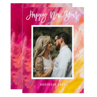Modern Bold Painted Happy New Year Photo Card