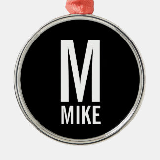 Modern Bold Personalized Monogram and Name Metal Ornament