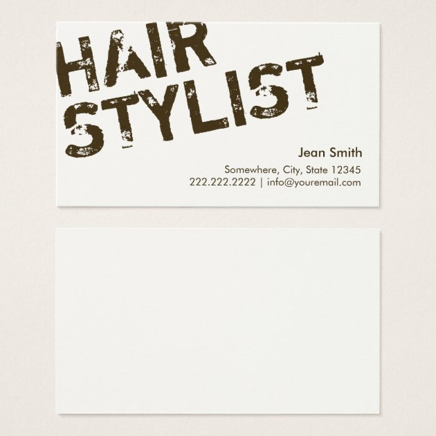 Modern Bold Text Hair Stylist Business Cards Zazzle Ca