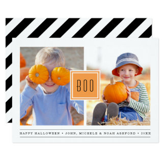Modern Boo | Two Photo Halloween Card
