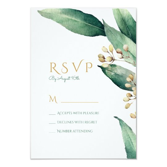 Modern botanical greenery rustic wedding RSVP Card