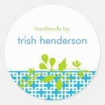 Modern Botanical Hancrafter's Label Round Stickers