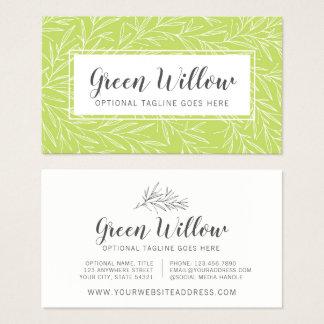Modern Botanical Leaf Branches Green Minimalist Business Card