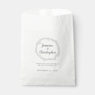 Modern Botanical Leaf Silver Wreath Wedding Favour Bag