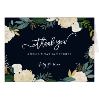 Modern Botanical Navy Wedding Thank You Card