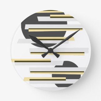 Modern boxes and circles abstract pattern round clock