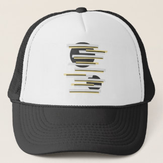 Modern boxes and circles abstract pattern trucker hat