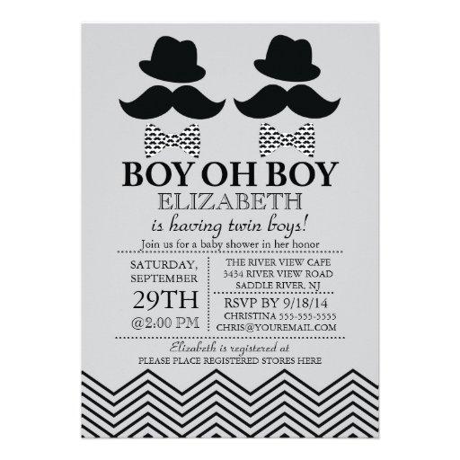 Modern Boy Little Man Mustache TWINS Baby Shower Custom Announcements